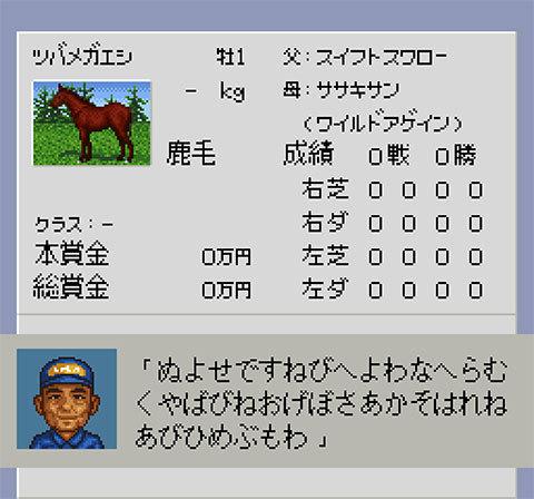 【ダービースタリオン96】スイフトスワロー×ワイルドアゲイン×プチカプリースの産駒(牡馬)の2歳馬パスワード