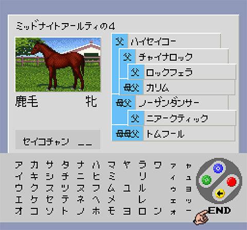【ダービースタリオン96】ハイセイコー×ミッドナイトアールティの産駒(繁殖牝馬用牝馬)