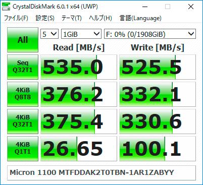 【CrystalDiskMark 6.0.1】1100 MTFDDAK2T0TBN-1AR1ZABYY