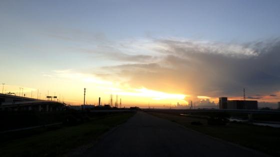 大和川の河川敷の夕焼け(2018年7月22日撮影)