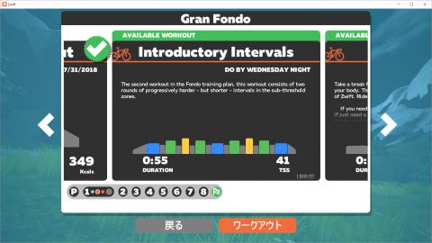 GranFondo 第1週ワーク2 Introductive Interval 結果