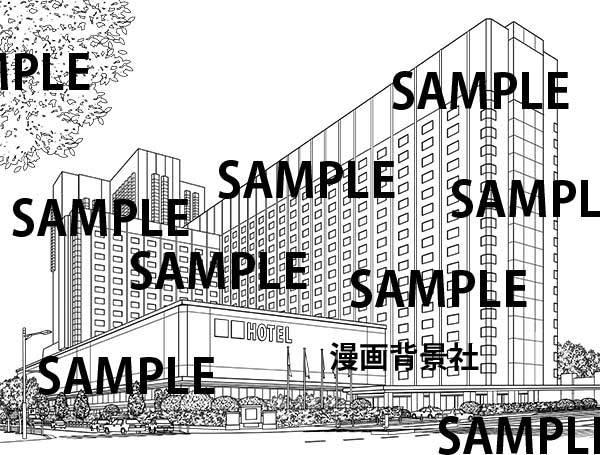 漫画背景素材「高級ホテル(ラグジュアリー・ホテル)」イラスト