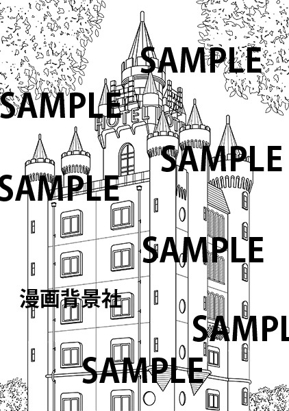 漫画背景素材「お城ふうラブホテル」イラスト