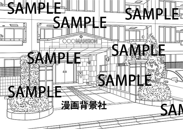 漫画背景素材「マンションの入口・玄関」イラスト