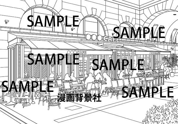 漫画背景素材「オープンカフェ」イラスト