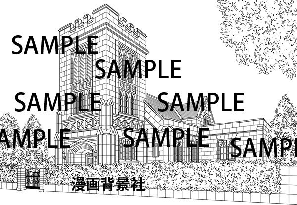 漫画背景素材「洋館2」イラスト