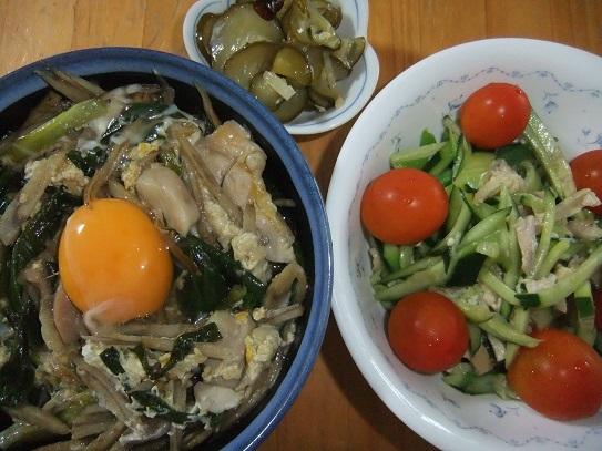 柳川丼、サラダ、Qちゃん
