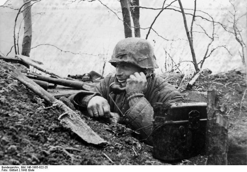Image result for German soldier with Field telephone model 33