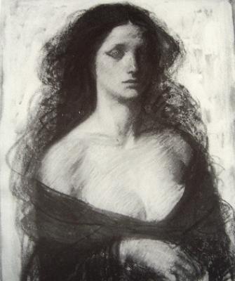 鴨居の作、婦人像