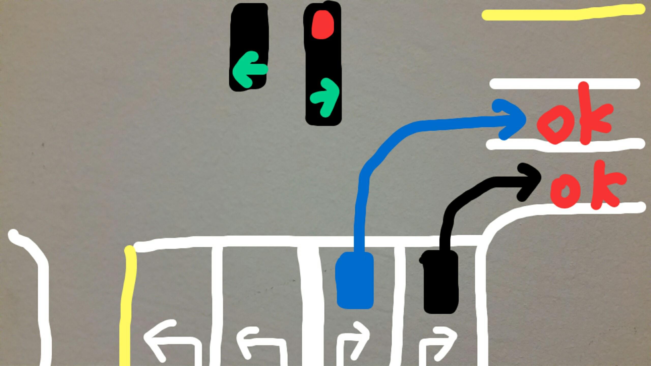 アメリカ グアム赤信号右折2車線