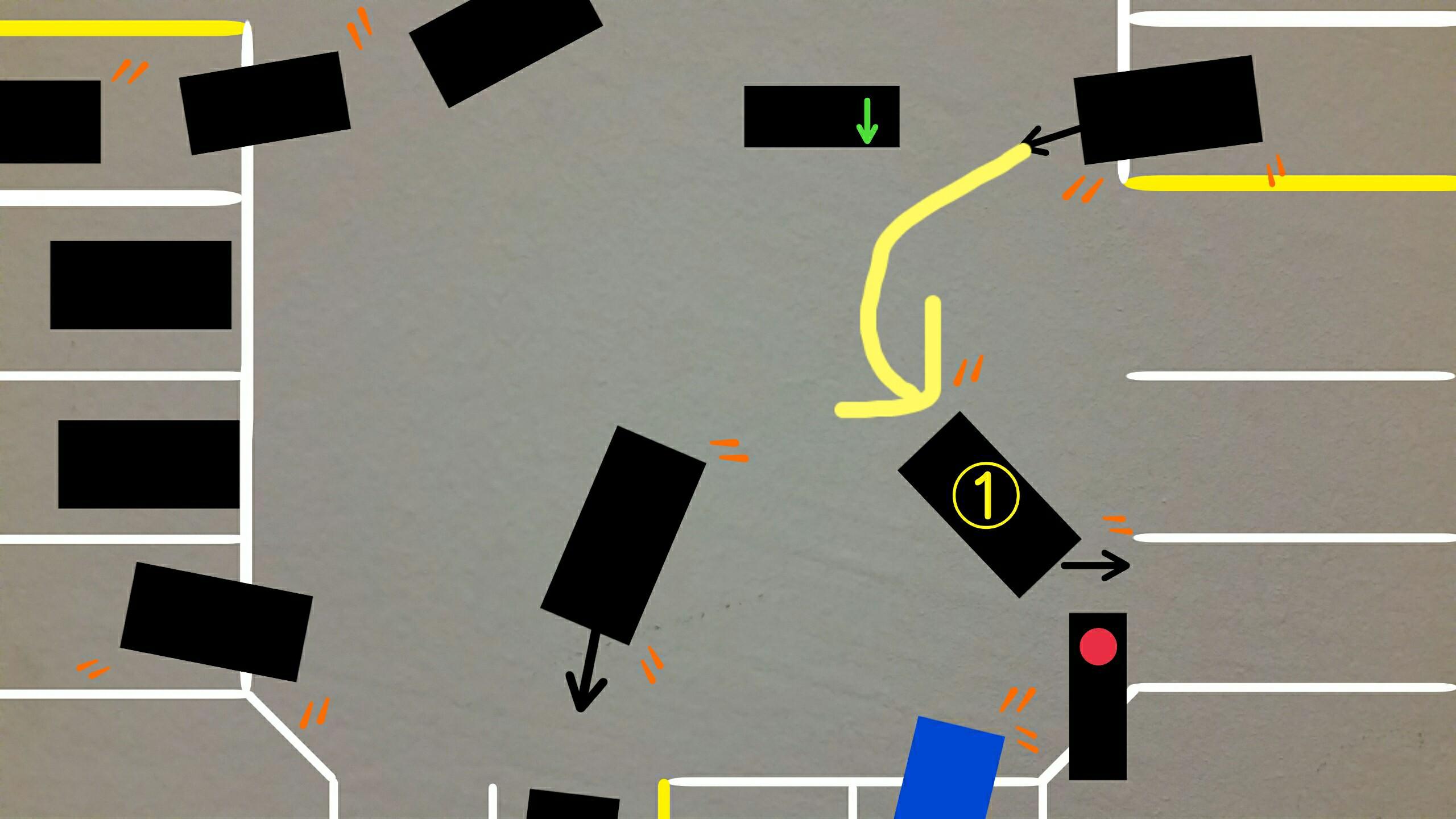 アメリカ グアム 赤信号絵右折注意点Uターンの車