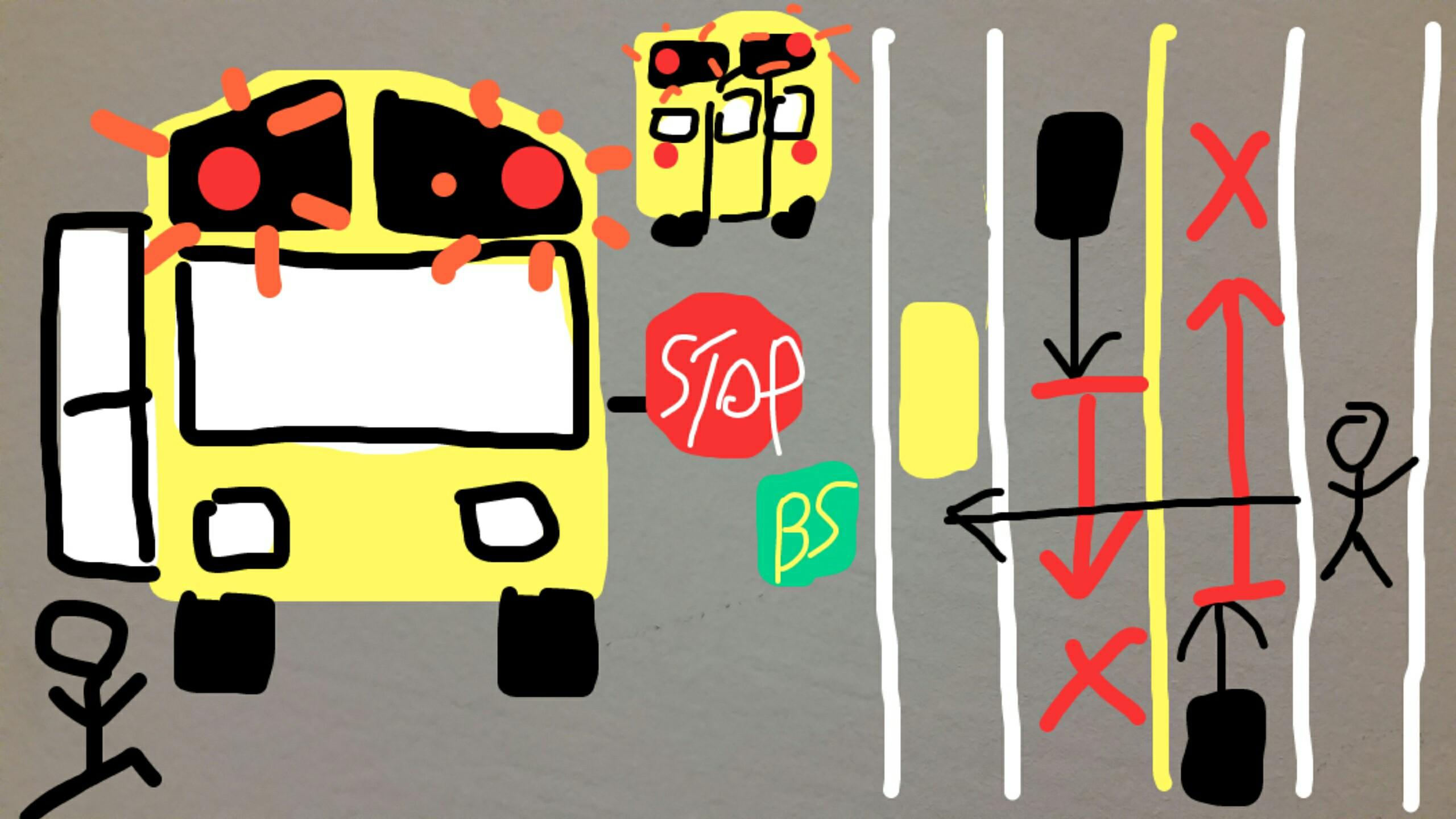アメリカ グアム スクールバス 赤ライト 解説