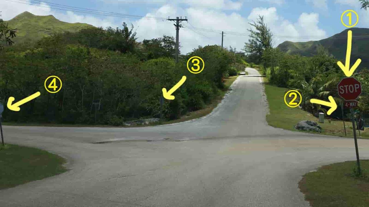 アメリカ グアム 標識 4way Stop