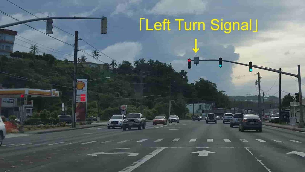アメリカ グアム 標識 Left Turn Signal
