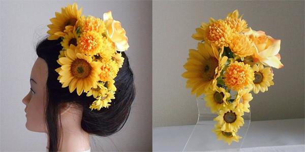 結婚式髪飾り・ひまわりとマムで小粋に