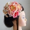 結婚式髪飾り・ガーベラとローズで愛らしく