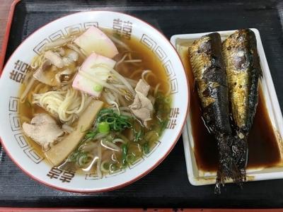 180320はやの食堂中華そば350円イワシ煮付け200円