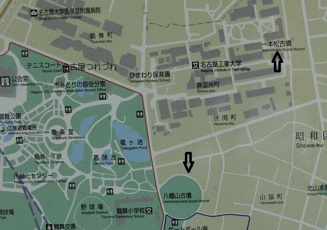 地図鶴舞公園と古墳