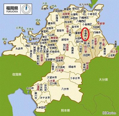 福岡地図 - 香春町