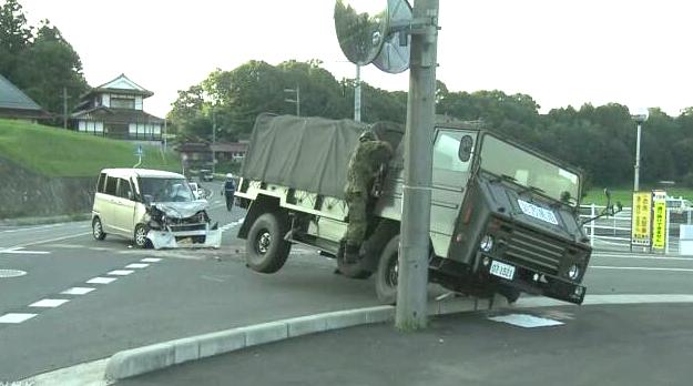 被災東広島市 自衛隊車両 事故