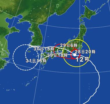 台風12号 異例のルート