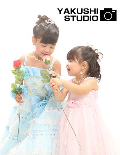 七歳三歳姉妹ドレス
