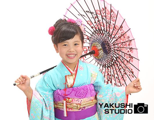 七歳 水色着物 傘