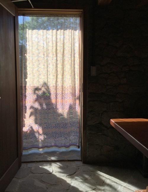 石積みの家のコテージ、カーテン越しの夏の景色