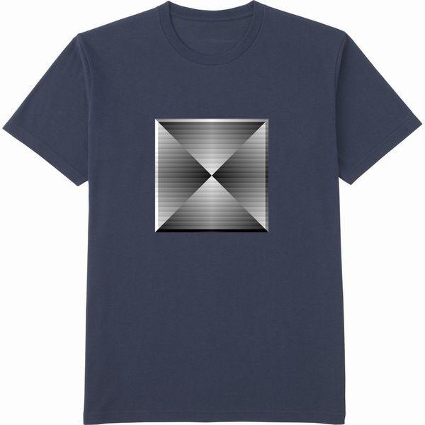 generated_mirror4ブラインド立体枠コントラストTシャツドライカラー紺