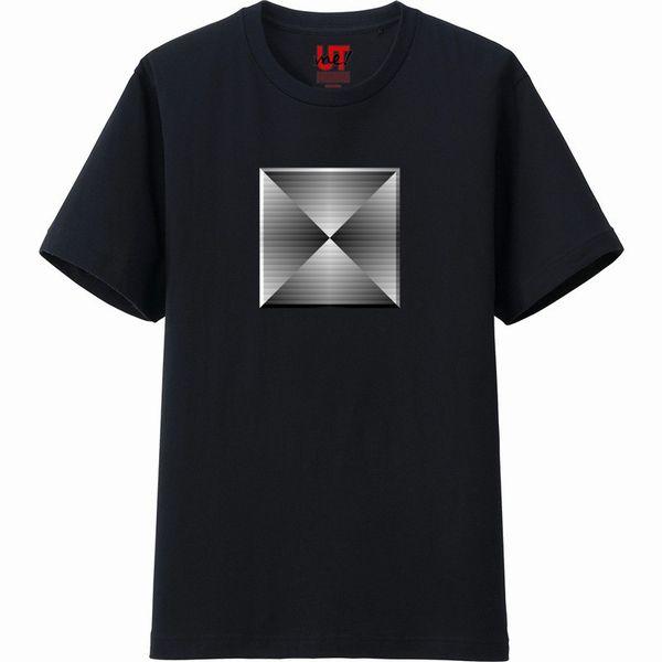 generated_mirror4ブラインド立体枠コントラストTシャツベーシック黒