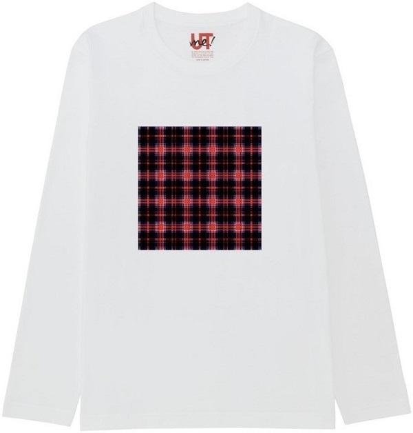 チェック19のコピー2ガラス処理Tシャツベーシック長袖白