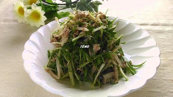 水菜ともやしのサバ水煮缶サラダ1