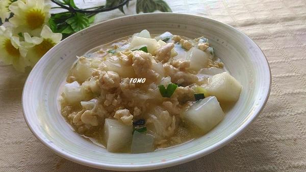 大根と鶏ひき肉のピリ辛炒め