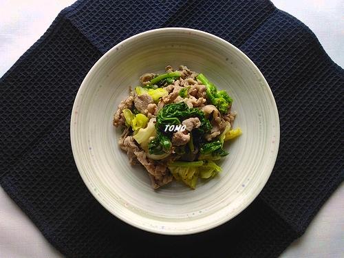 菜の花と豚肉の粒マスタード炒め