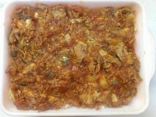 ボイルキャベツとサバ水煮缶のラザニア5