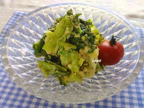 菜の花とキャベツの粒マヨ卵サラダ