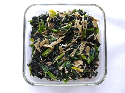 ほうれん草とえのき茸の塩昆布炒め