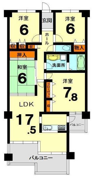 1480 サンシティ桂坂参番館506号 94.00