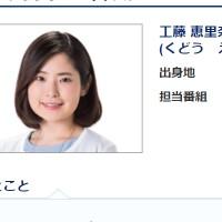 工藤恵里奈アナ