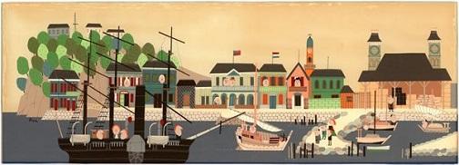 柳原良平 昭和初期の横浜港風景 1967年
