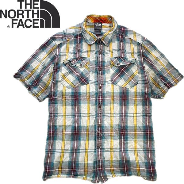 Used半袖チェックシャツ画像メンズレディースコーデ@古着屋カチカチ01
