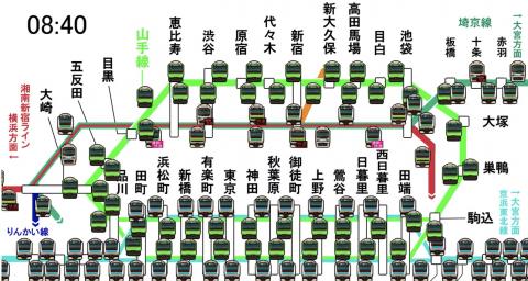 海外「日本はレベルが違うわ」 東京の列車本数の凄まじさが一目で分かる動画が話題に
