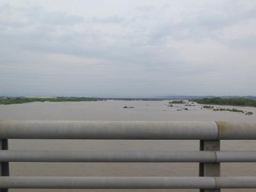 増水した天竜川