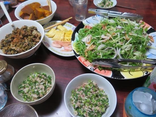 カボチャと大根と水菜の食卓