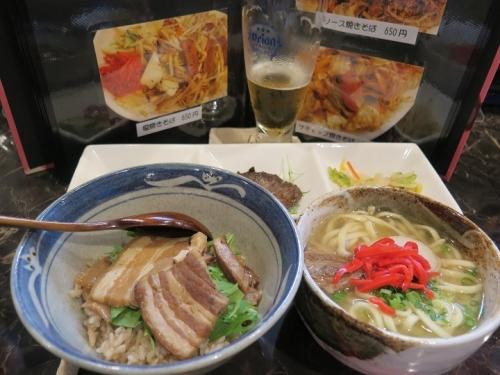 ラフテー丼とミニソーキソバのセット