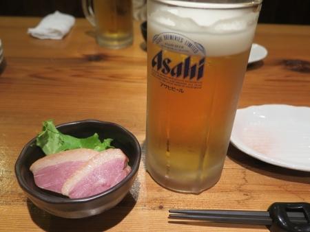 ビールと合鴨燻製