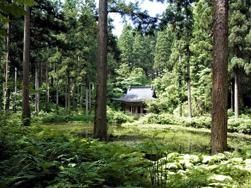 秋田 小沼神社と小沼の風景
