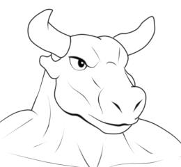 モブ牛獣人線画修正顔