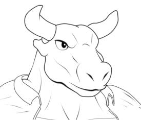 モブ牛獣人線画上着顔