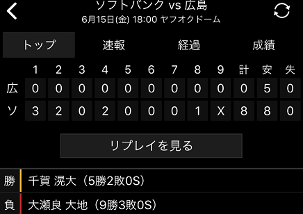 6152018 Carp敗戦vsSB S